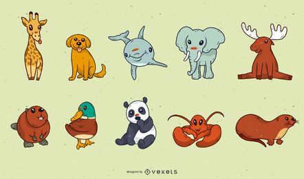 Pacote de desenhos animados animais bebê fofo