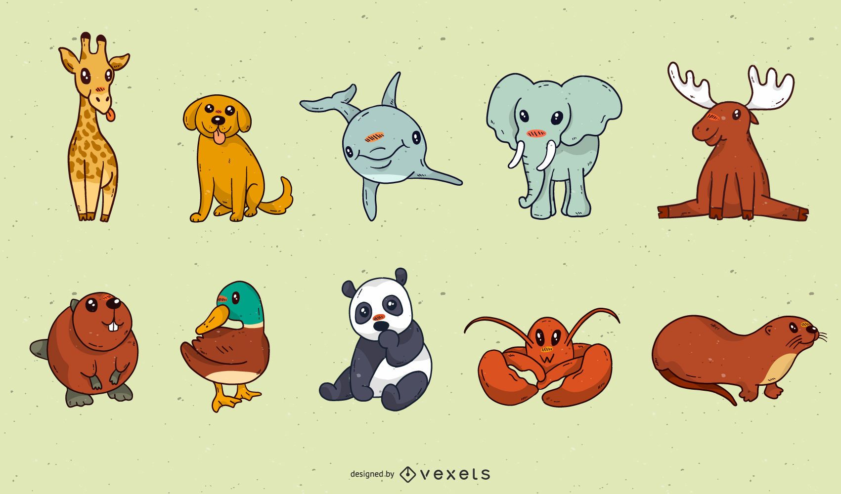 Cute baby animal cartoon pack