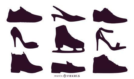 Silhuetas de vetores de sapato