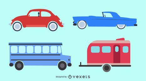 Coches de juguete y vector de autobús