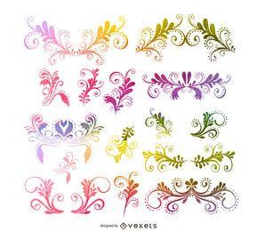 Conjunto floral de remolinos ornamentales.