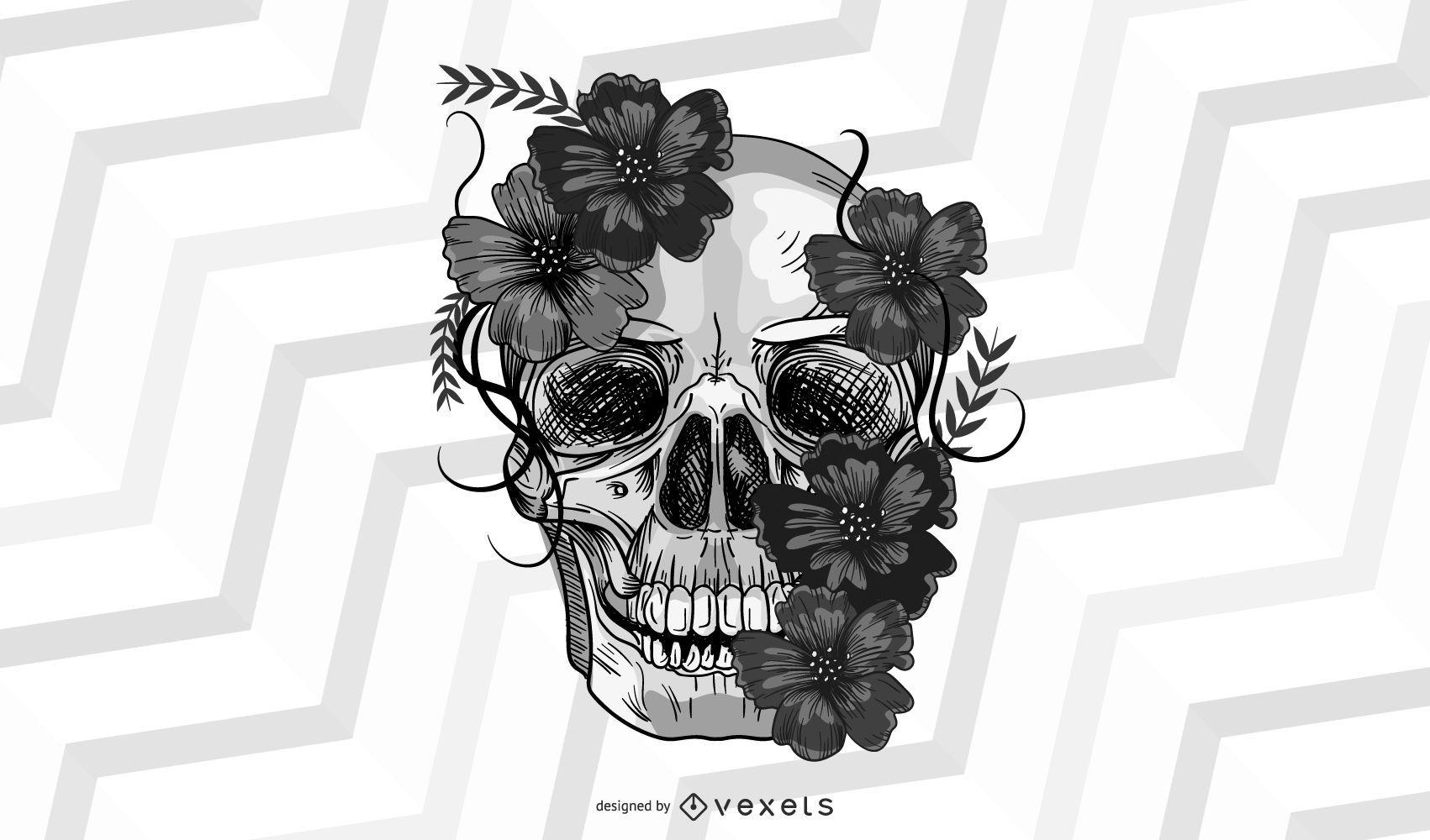 Vector cráneo florecer toque mexicano