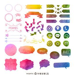 Watercolor element collection