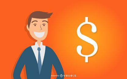 Kaufmann mit Dollarzeichen