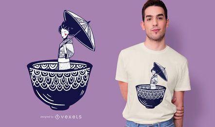 Japanese Geisha Vector T-Shirt Template