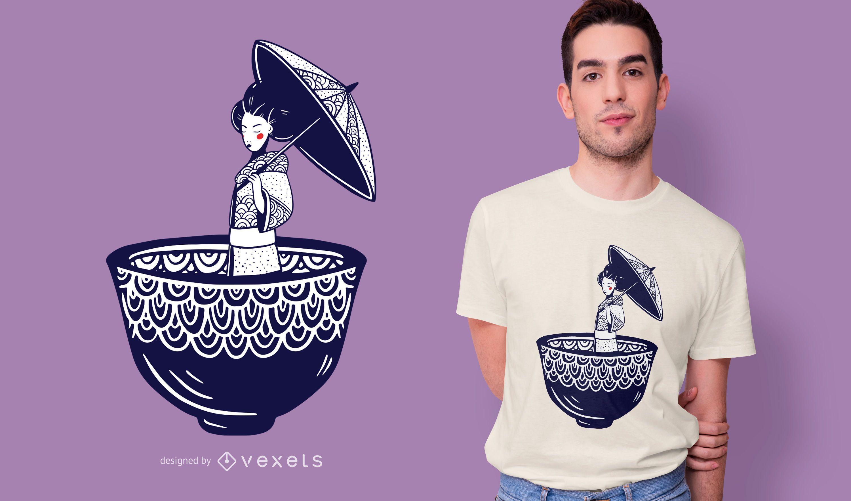 Modelo de t-shirt de vetor de gueixa japonesa