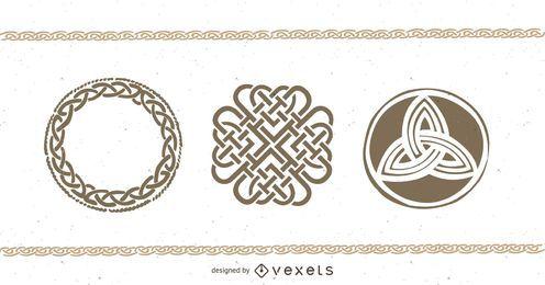 Casal de desenhos de tatuagem celta