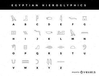 Un alfabeto jeroglífico egipcio estilizado