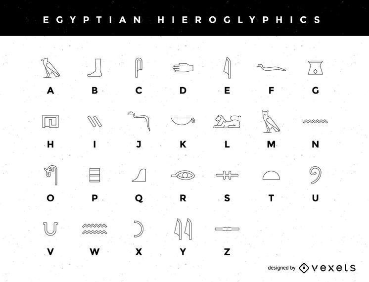 Um Alfabeto Hieroglífico Egípcio Estilizado