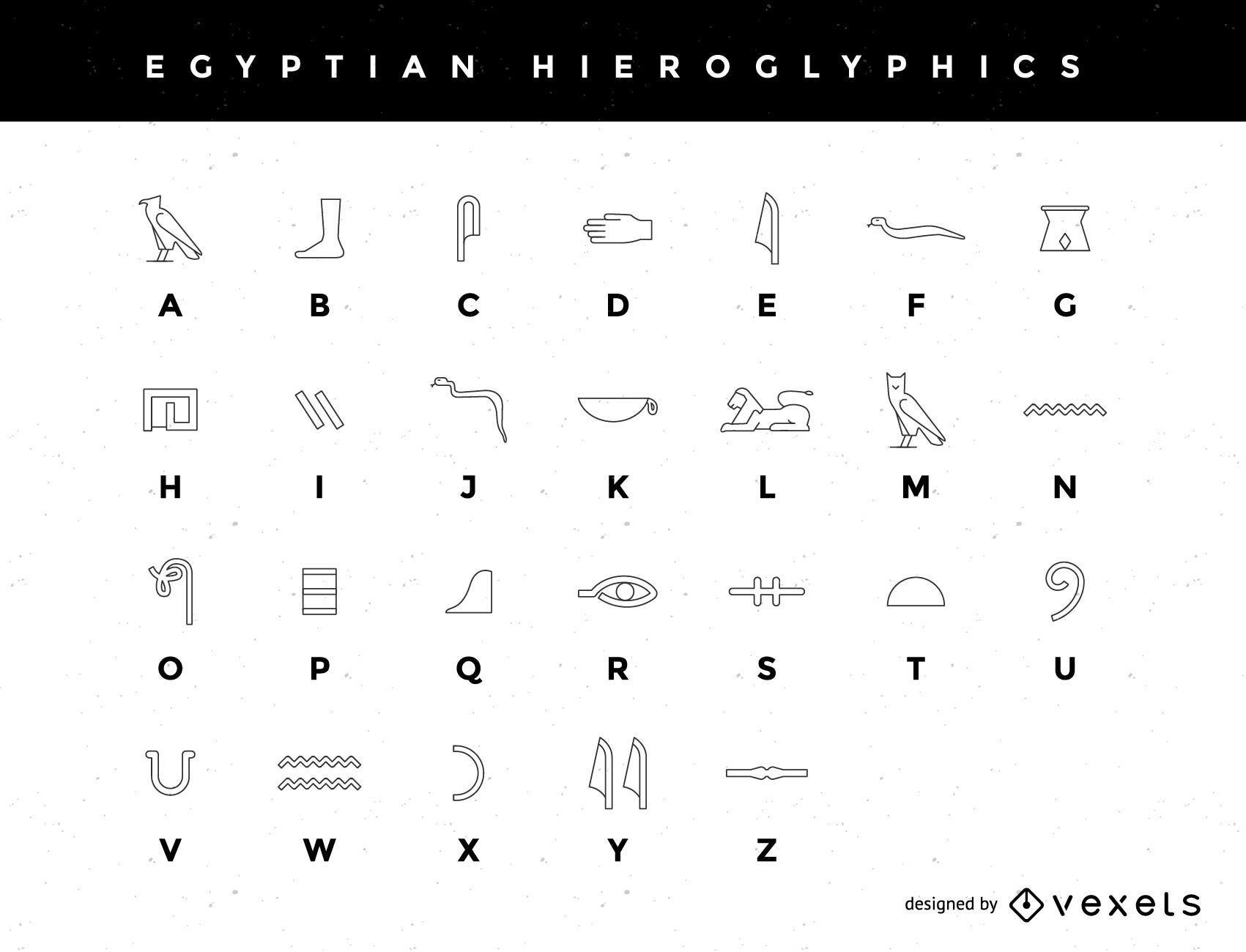 Un alfabeto jerogl?fico egipcio estilizado