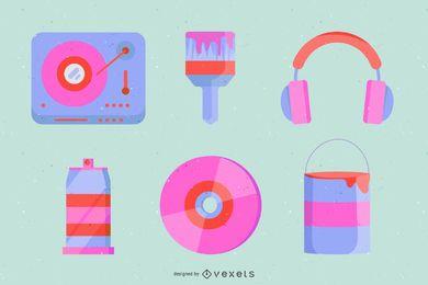 Ilustraciones vectoriales gratuitas de Dj y Graffiti