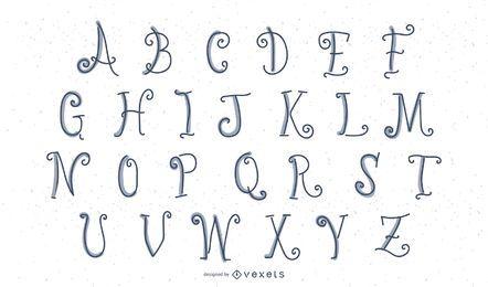 Letras de alfabeto de barbatanas de peixe