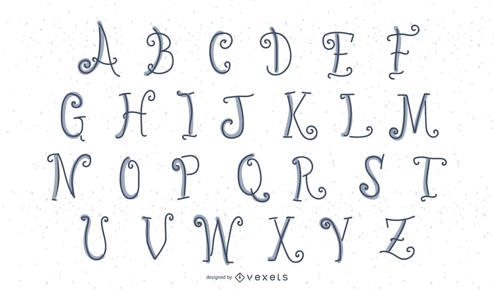 Letras do alfabeto de barbatanas de peixe