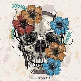 Cráneo dibujado a mano del vector