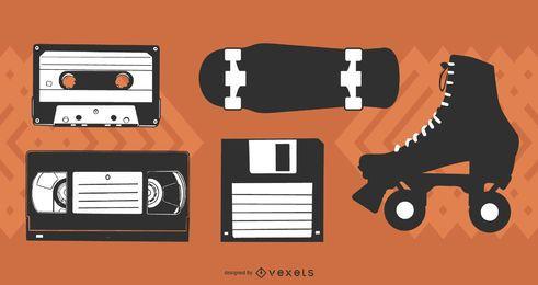 1985 Un paquete de vectores gratis de iconos de los 80