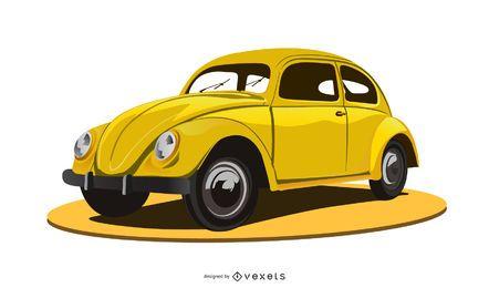 Volkswagem amarillo escarabajo en plataforma