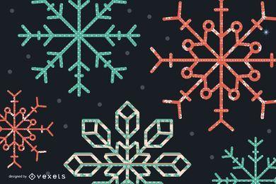 Gesteppte Schneeflocken