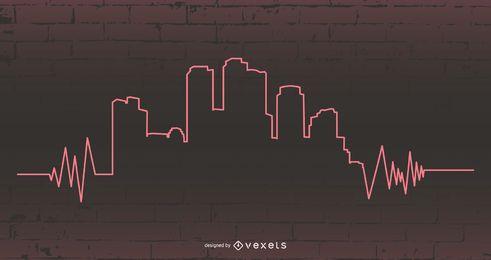 Linha urbana de batimentos cardíacos e edifícios