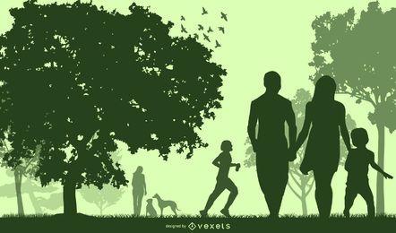 Planeta verde silueta con gente feliz