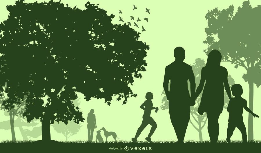Silhouette Green Planet with Happy People