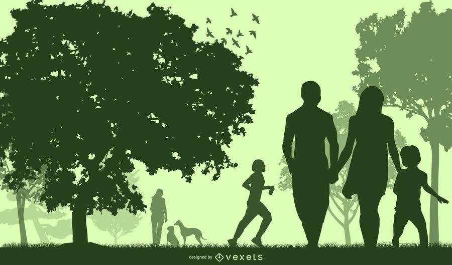 Silhueta verde planeta com pessoas felizes