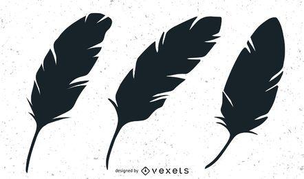 Three black feathers