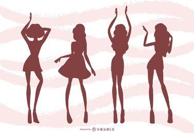 Mulheres dançando fundo de silhuetas