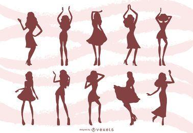 Frauen, die Schattenbild-Hintergrund tanzen