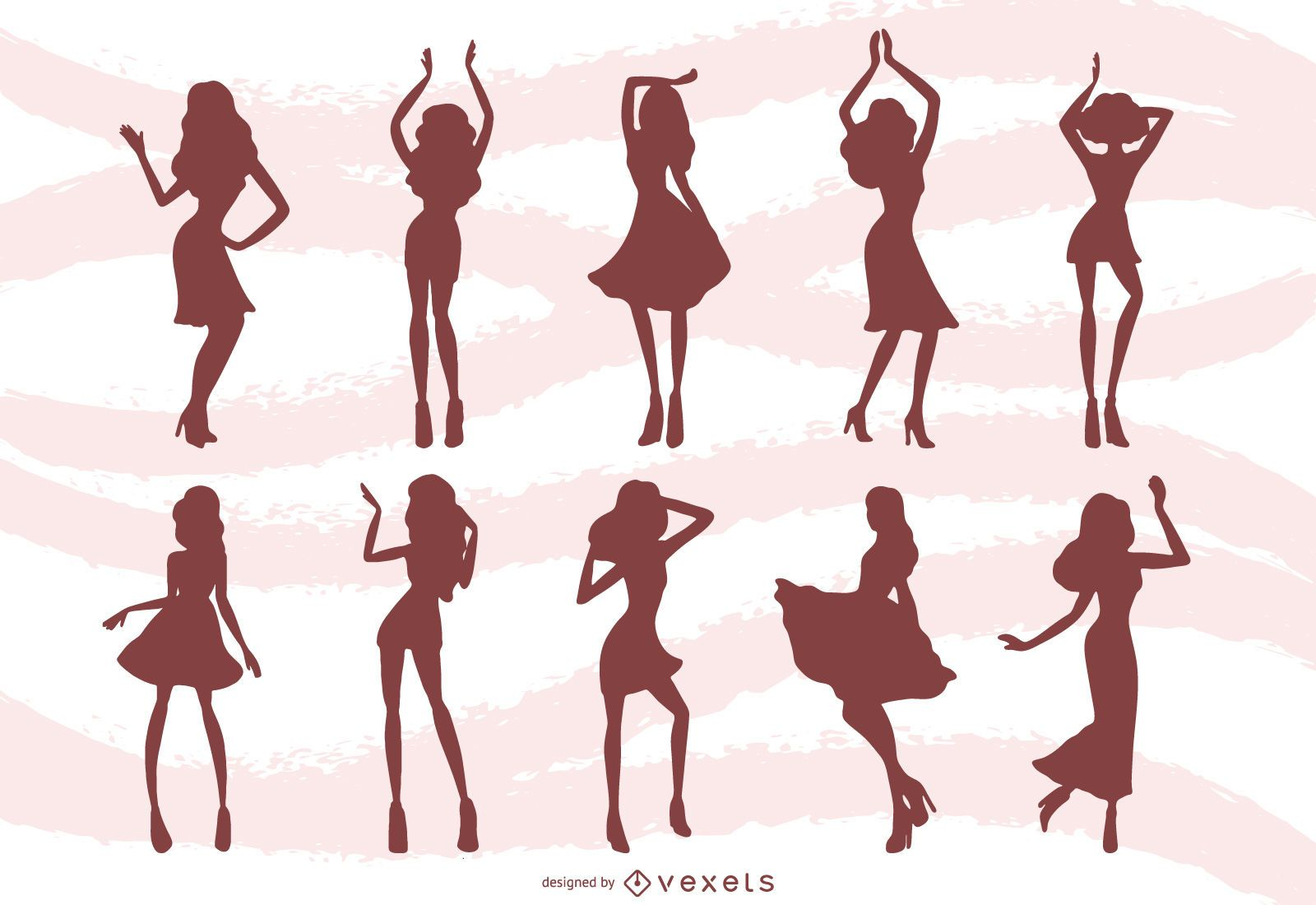 Women Dancing Silhouettes Background