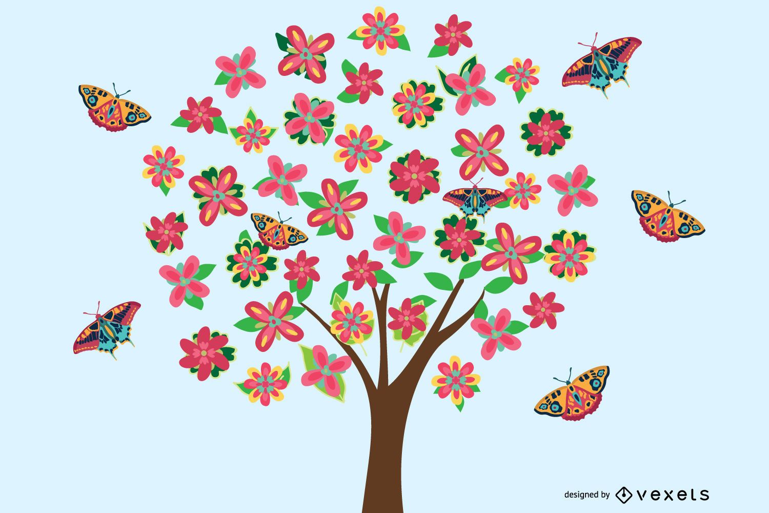 Vector Flower Tree Graphic for free Download
