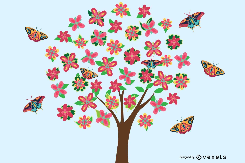 Vector Flower Tree Graphic para descarga gratuita