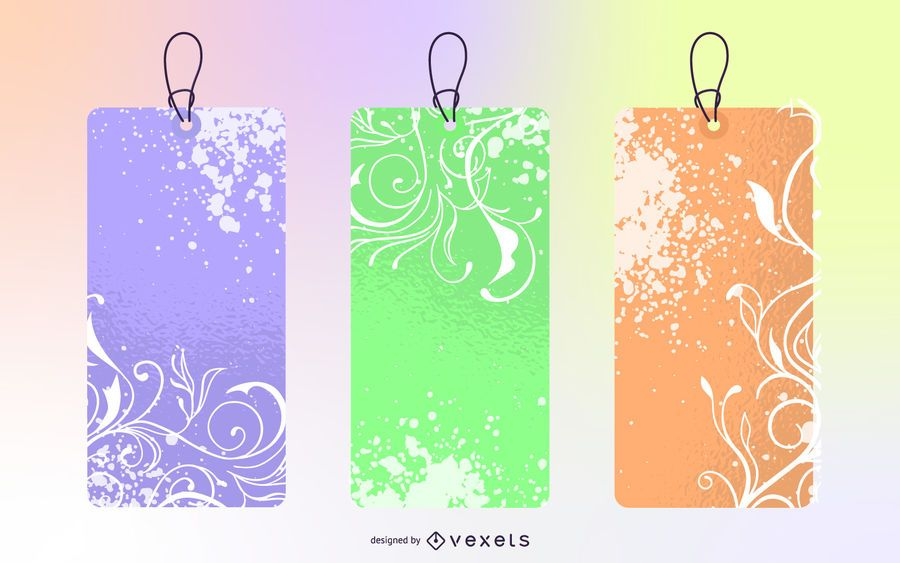 Vector Flowered Grunge Labels I and II