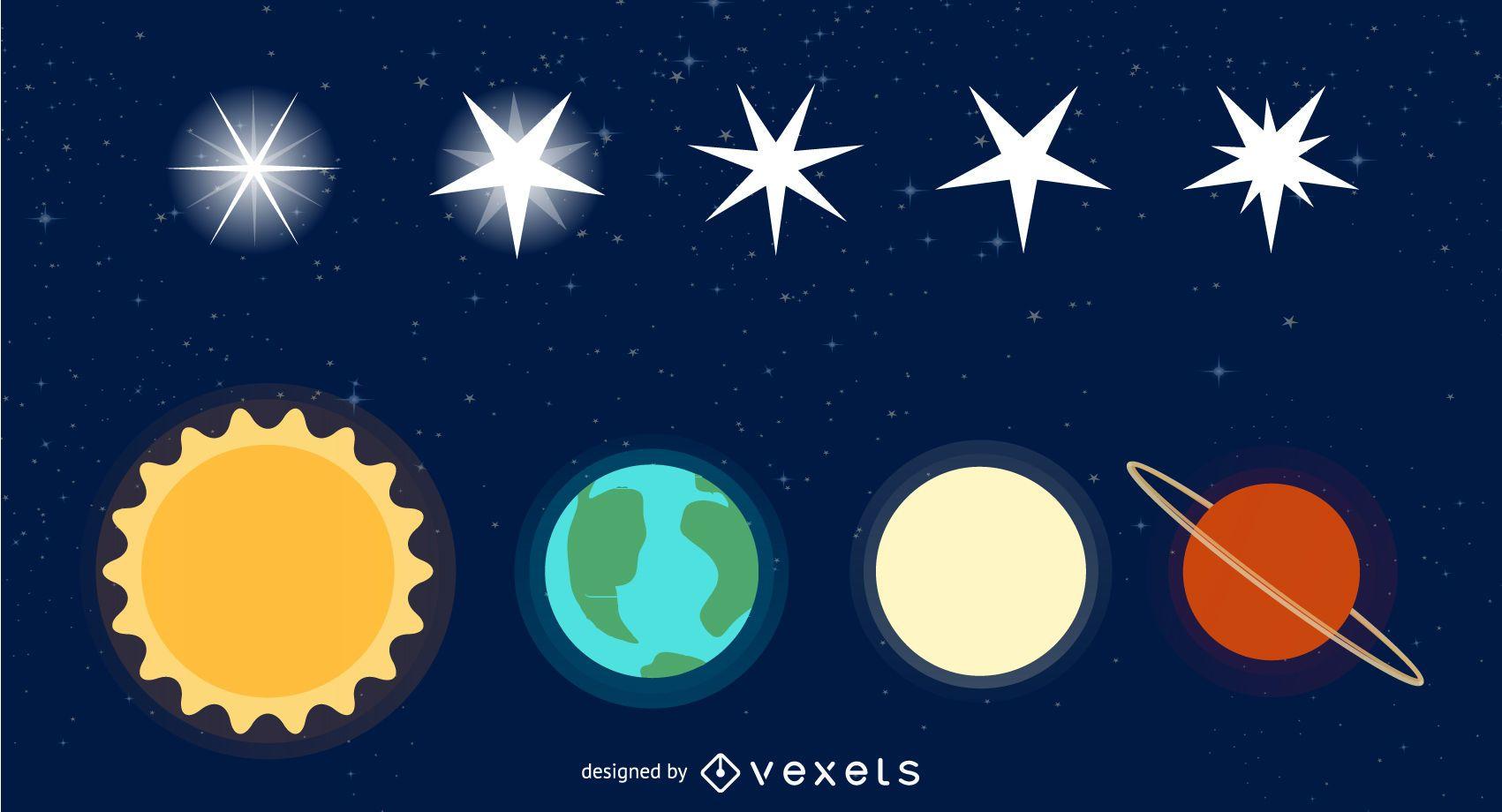 Paquete de vectores de estrellas y galaxias gratis