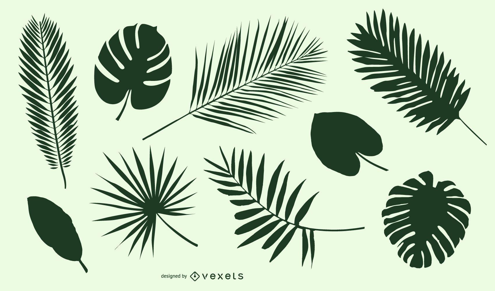Leaf and leaves silhouette set