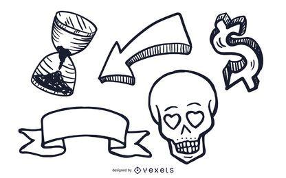 Verschiedene Objekte Illustrationen gesetzt