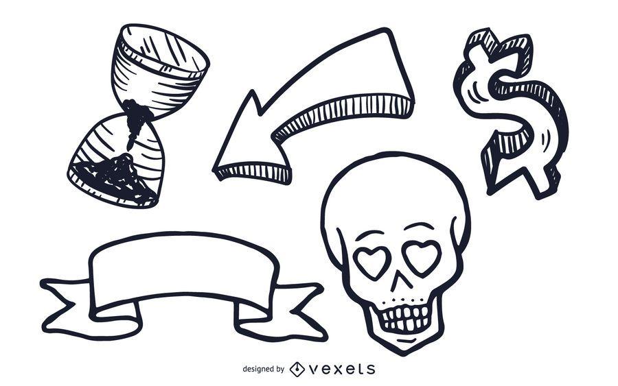 Conjunto de ilustrações de objetos diversos