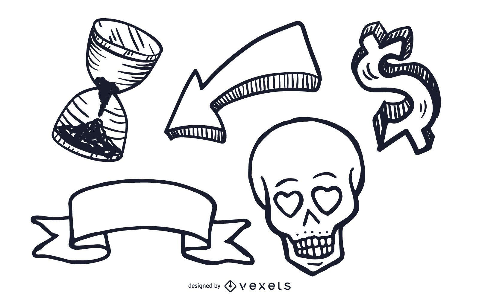 Conjunto de ilustraciones de objetos misceláneos