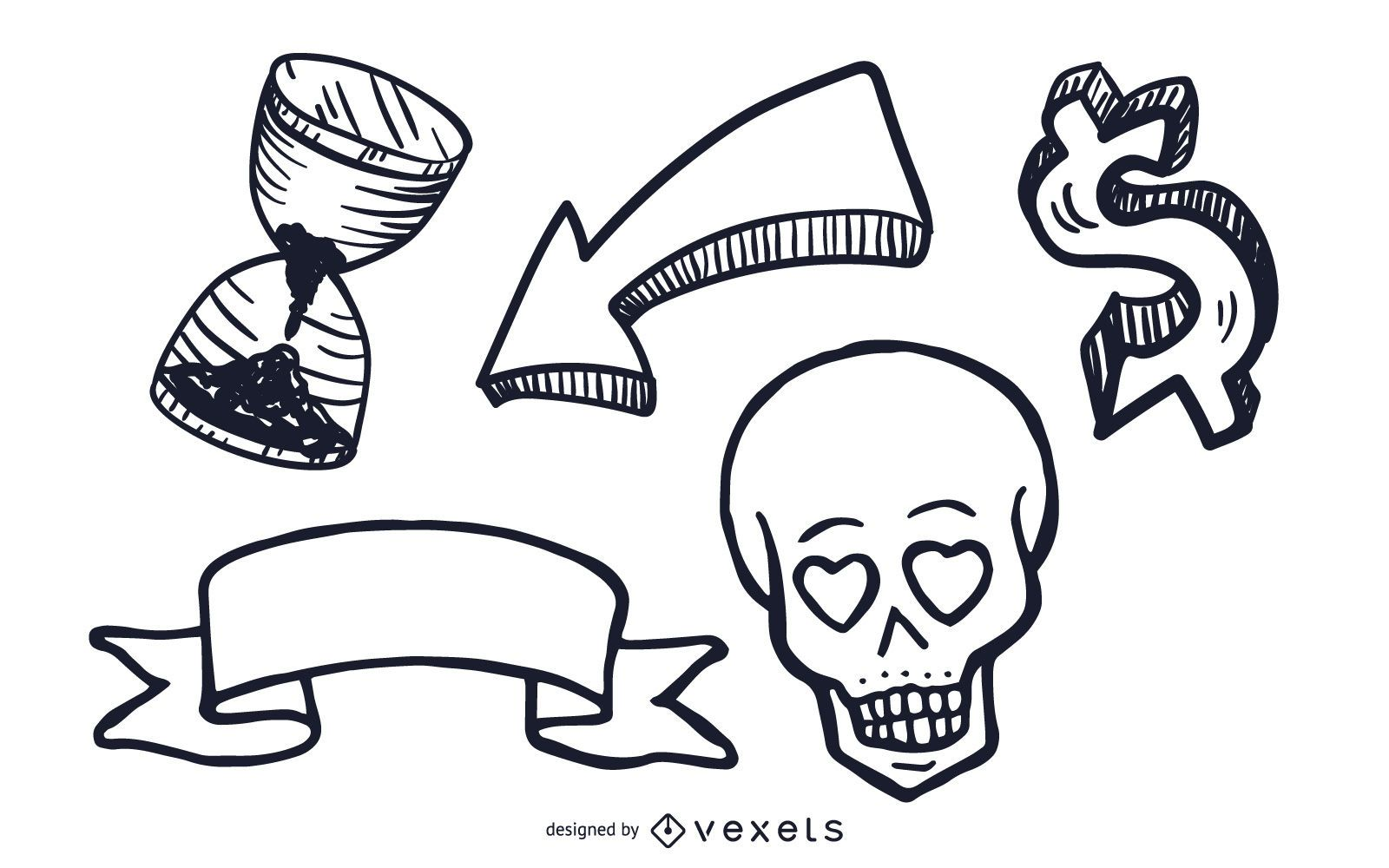 Misc objects illustrations set
