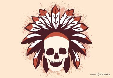 Grunge tribal skull illustration