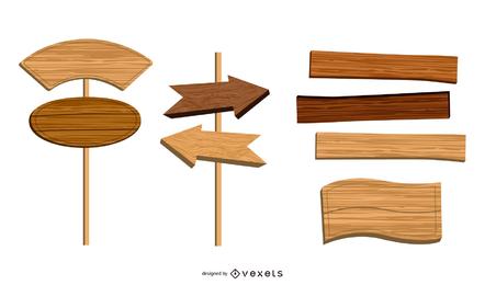 Conjunto de vectores de signos de madera