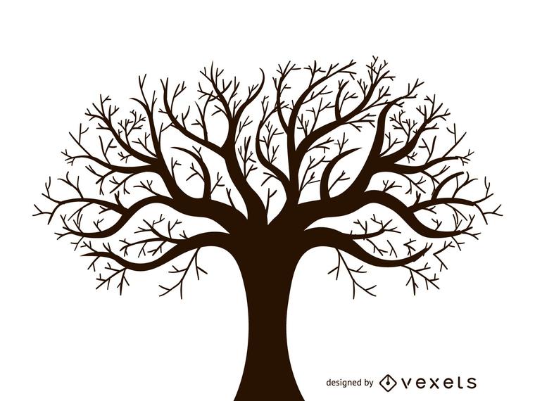 Vector de diseño de árbol de otoño sin hojas