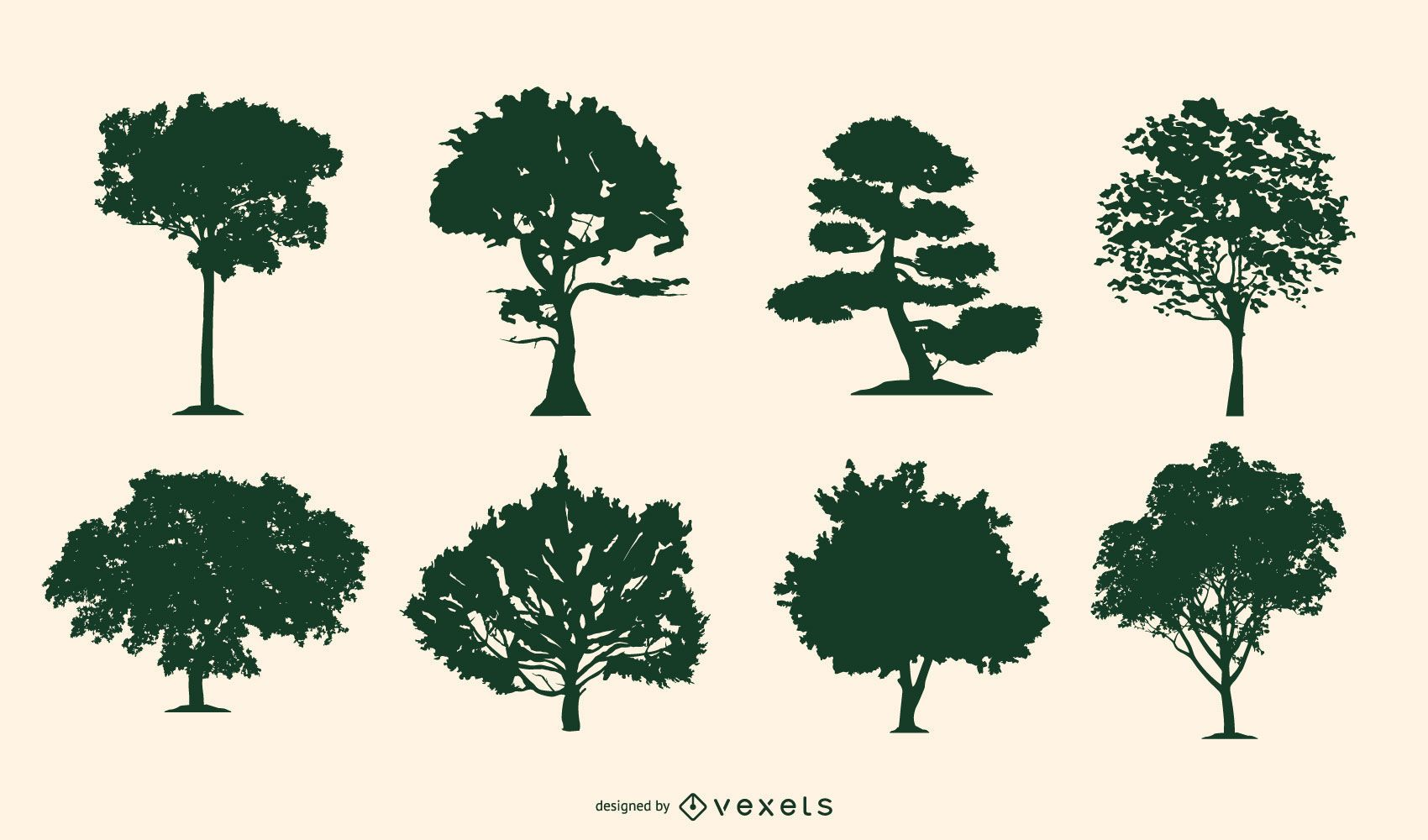 Pacote de silhuetas de árvores