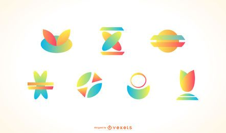 Conjunto de logotipo colorido abstrato ícone