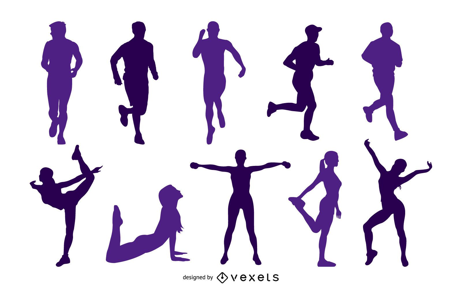 Active people silhouette collection set