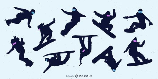 Snowboarding People Silhouette Set