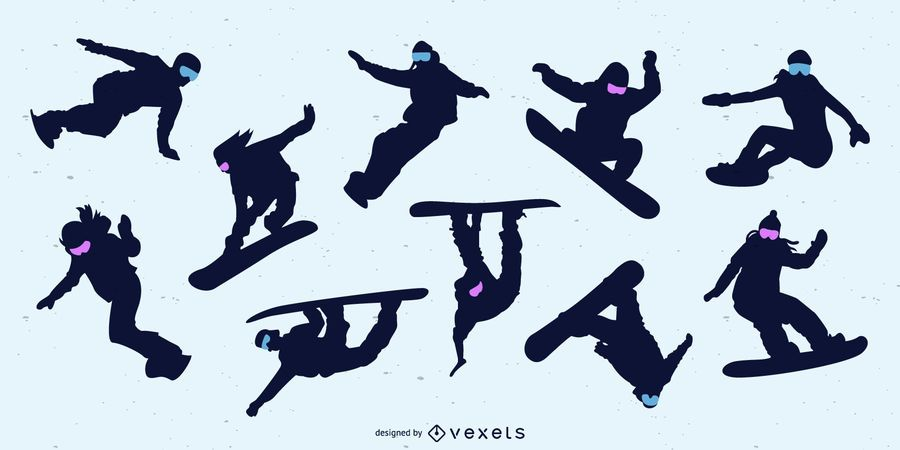 Snowboarding People Silhouette Set