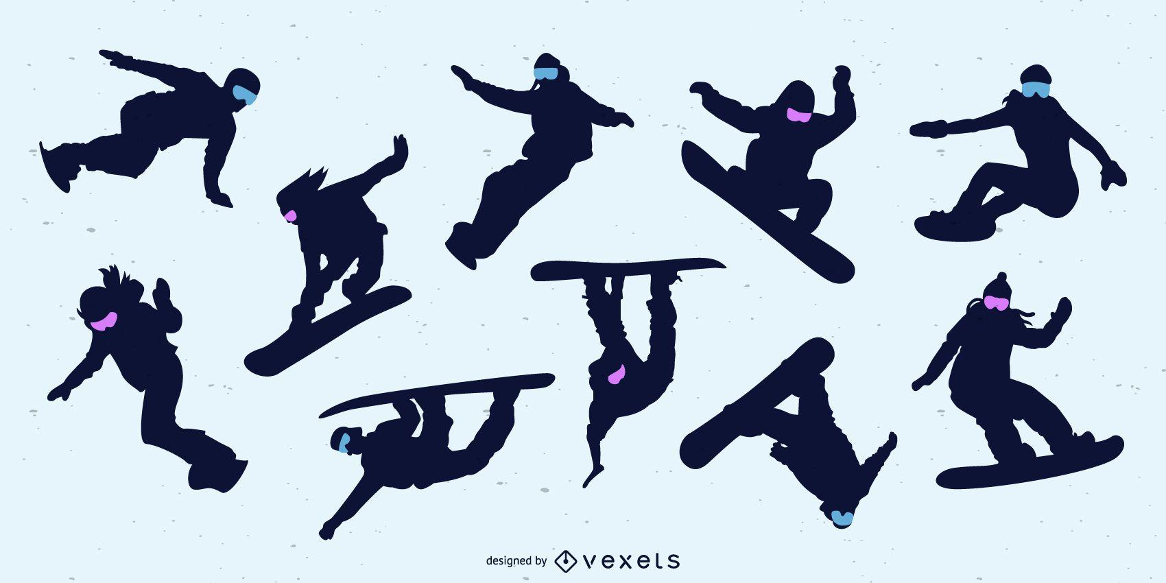 Conjunto de silueta de personas de snowboard