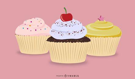 Vektor-Cupcakes