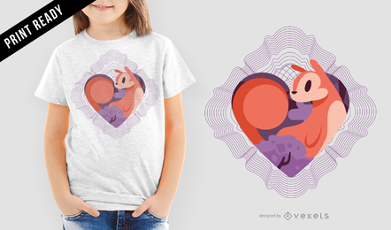 Squirrel Love Spirograph Vector