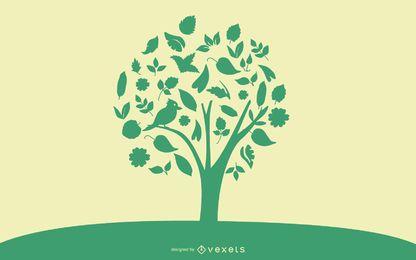 Árvore abstrata com pássaro